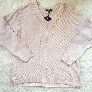 NWT Blush pink v neck sweater XL chaps